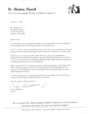 Pastoral reference letter images letter format formal sample reference letters paul koleske catholic speaking music ministry click on image to view letter in pdf thecheapjerseys Image collections