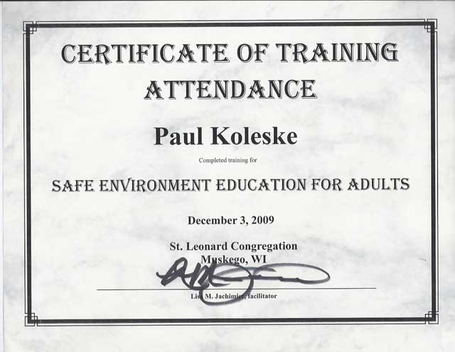 Safe Environment Certificate
